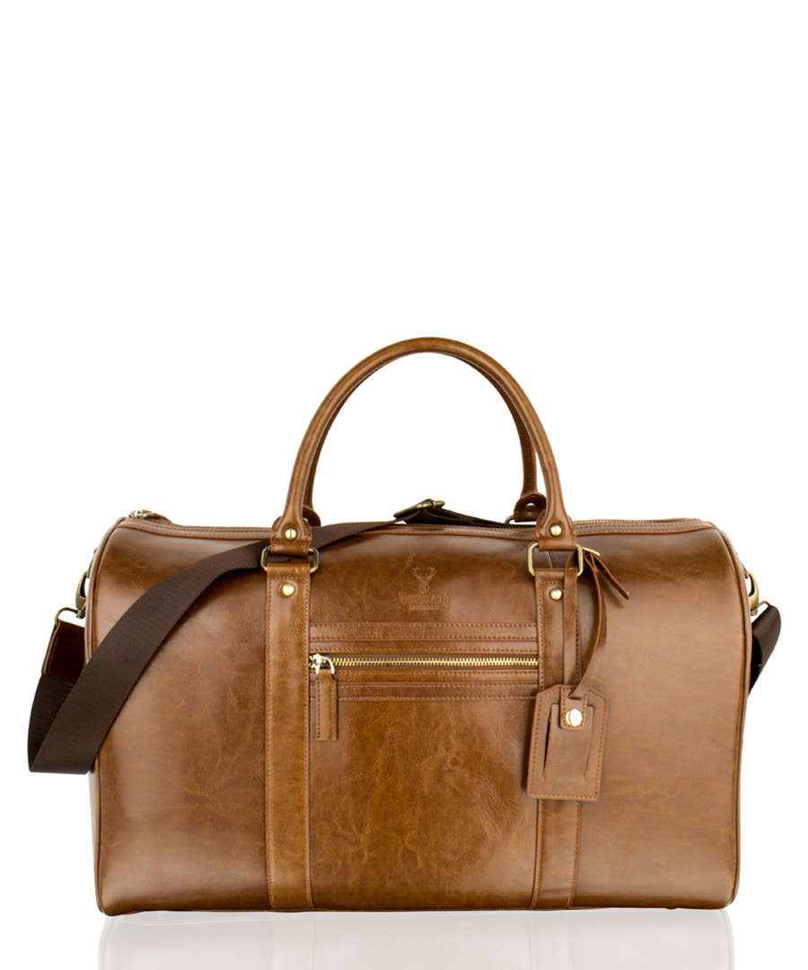 Cognac leather weekend bag Sale - woodland leathers