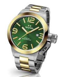 Green & two-tone stainless steel watch