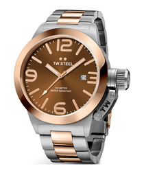 Brown & two-tone stainless steel watch