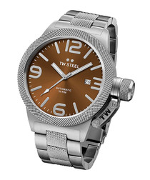 Brown & stainless steel watch