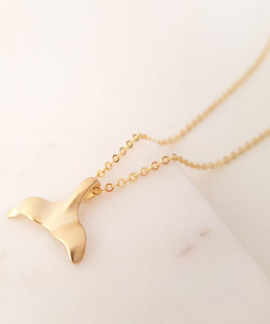 14k gold-plated whale fin pendant Sale - fleur envy