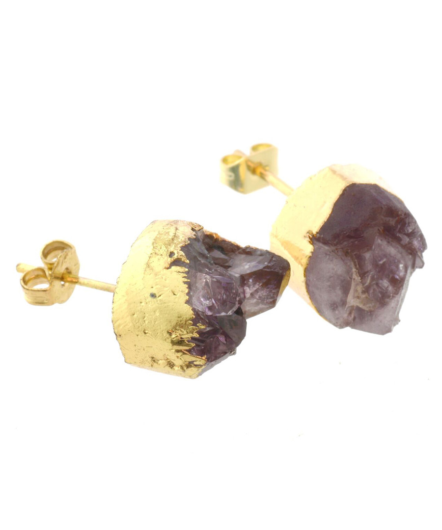 14k gold-plate amethyst stud earrings Sale - fleur envy