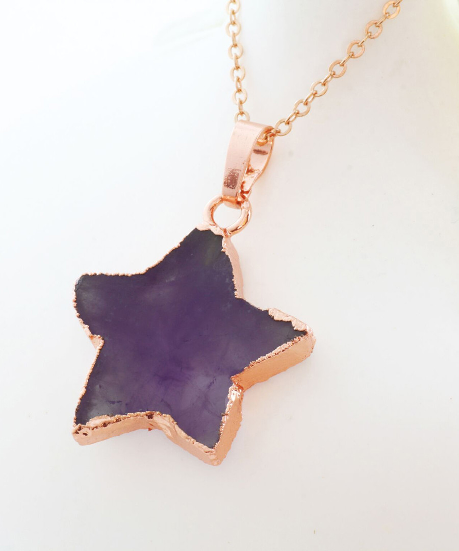 Rose gold-plate & amethyst star pendant Sale - fleur envy gaia
