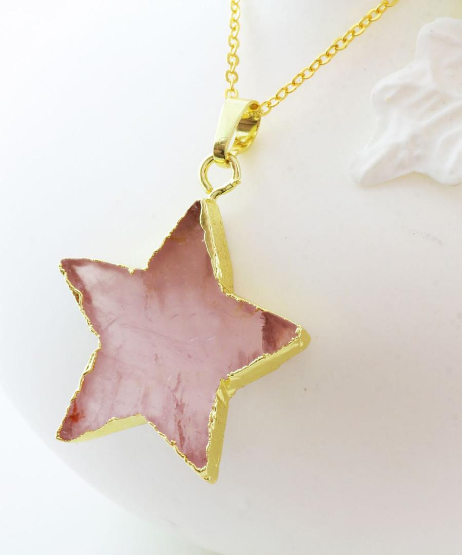 Gold-plate & rose quartz star pendant Sale - fleur envy gaia