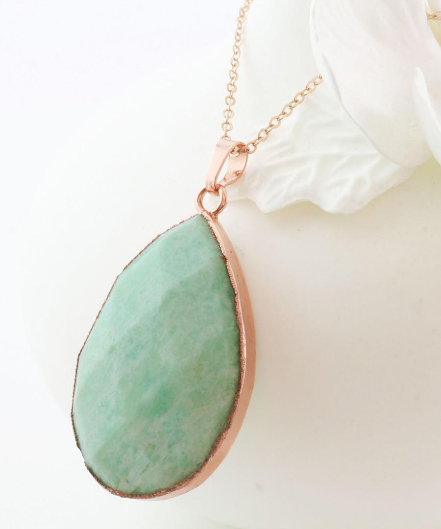 Amazonite & gold-plated teardrop pendant Sale - fleur envy gaia