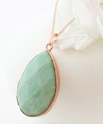 Amazonite & gold-plated teardrop pendant