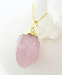 Gold-plated rose quartz nugget pendant
