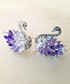 Violet glass crystal swan earrings Sale - fleur envy Sale