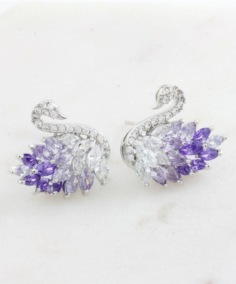 Violet glass crystal swan earrings Sale - fleur envy