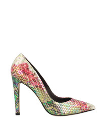 Multi-colour snake-effect court heels