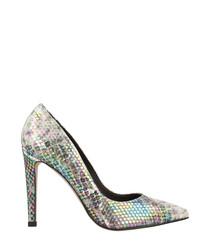 Multi-colour snake-effect court heels