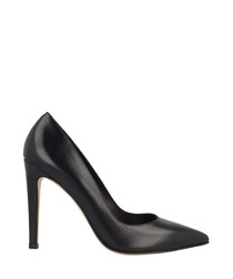 Black leather pointed court heels