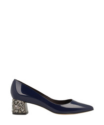 Navy patent leather courts