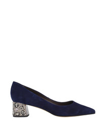 Navy suede embellished courts