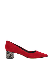 Red suede embellished courts