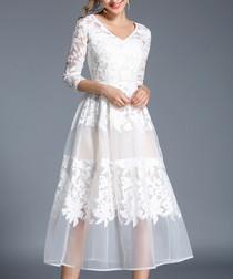 White lace overlay midi dress