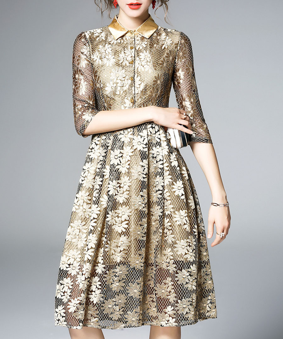 Gold-tone semi-sheer dress Sale - yyfs