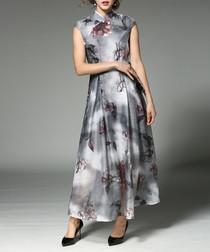 Grey printed high-neck maxi dress