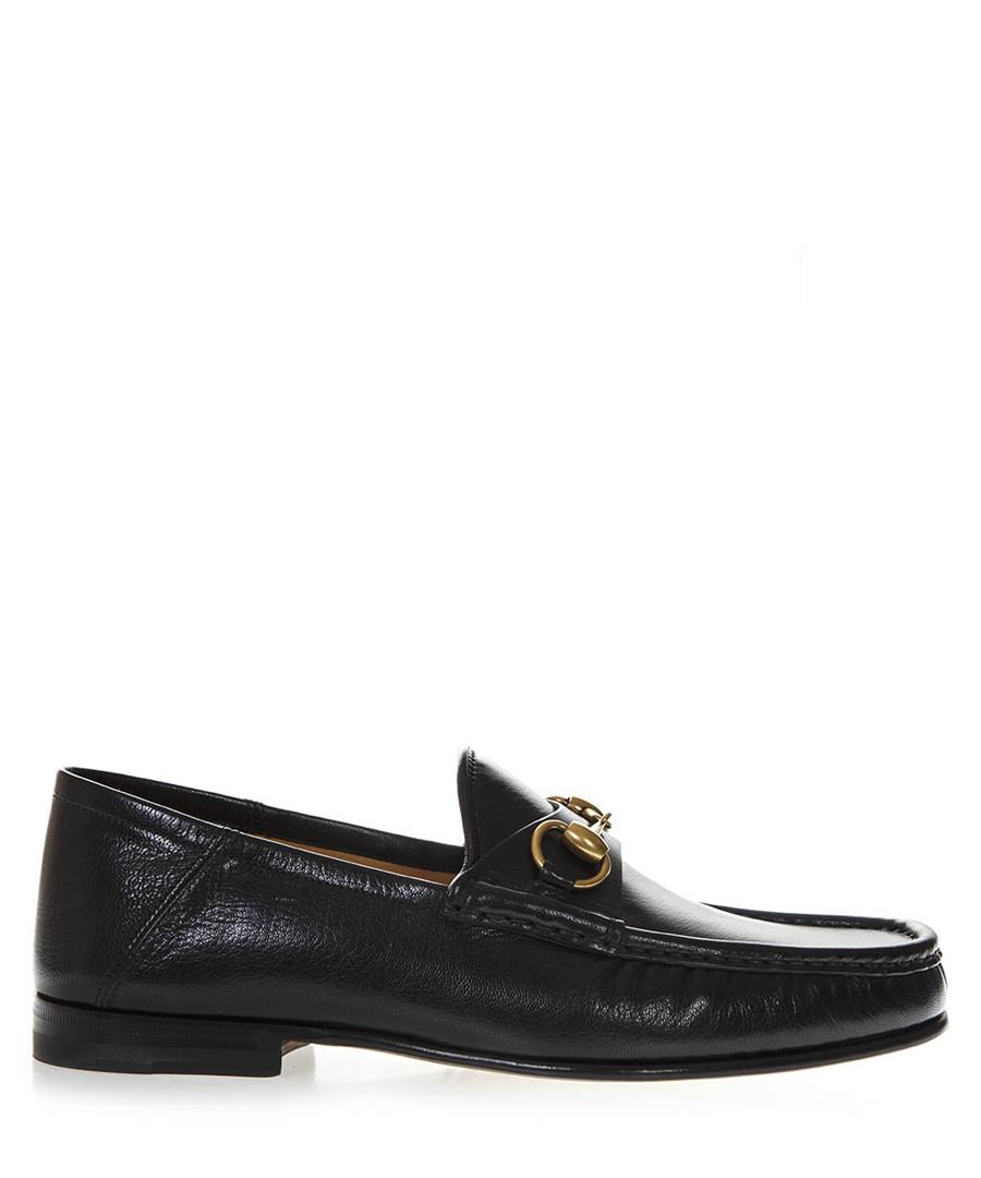 Black leather branded horsebit loafers Sale - gucci