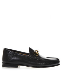 Black leather branded horsebit loafers