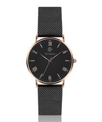 Black steel mesh & black numeral watch