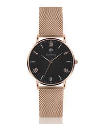 Rose gold-tone steel mesh & black watch