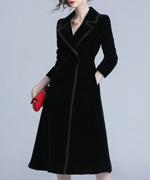 Black A-line dress-style coat