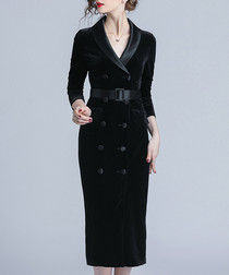 Black belted velvet midi dress