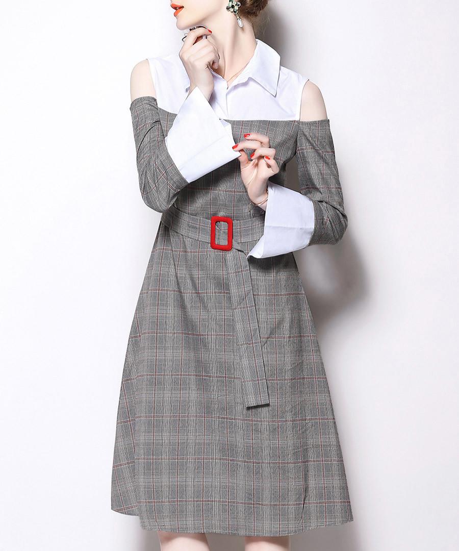 Grey check cold-shoulder shirt dress Sale - yyfs
