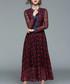 Wine print maxi dress Sale - yyfs Sale