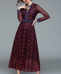 Wine print maxi dress
