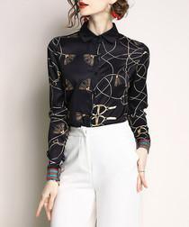 Black & gold-tone print blouse