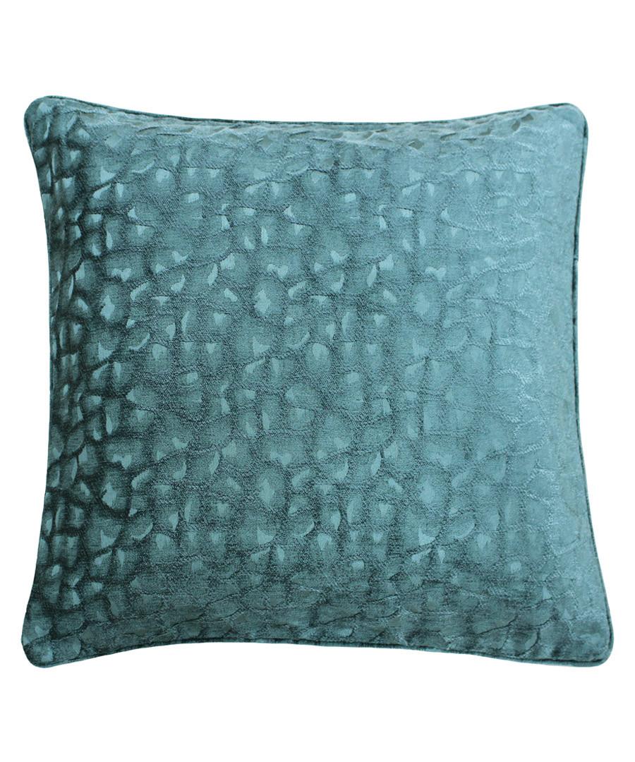 Compton teal velvet cushion 45cm Sale - riva paoletti
