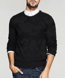 Black cotton blend jumper