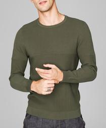 Olive green cotton blend panel jumper