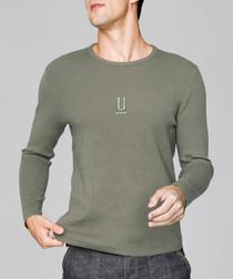 Olive green cotton blend jumper