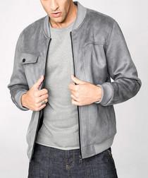 Grey plush bomber jacket