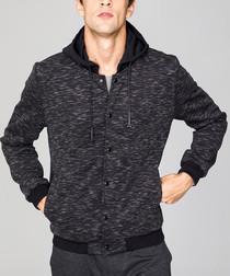 Graphite melange button hoodie