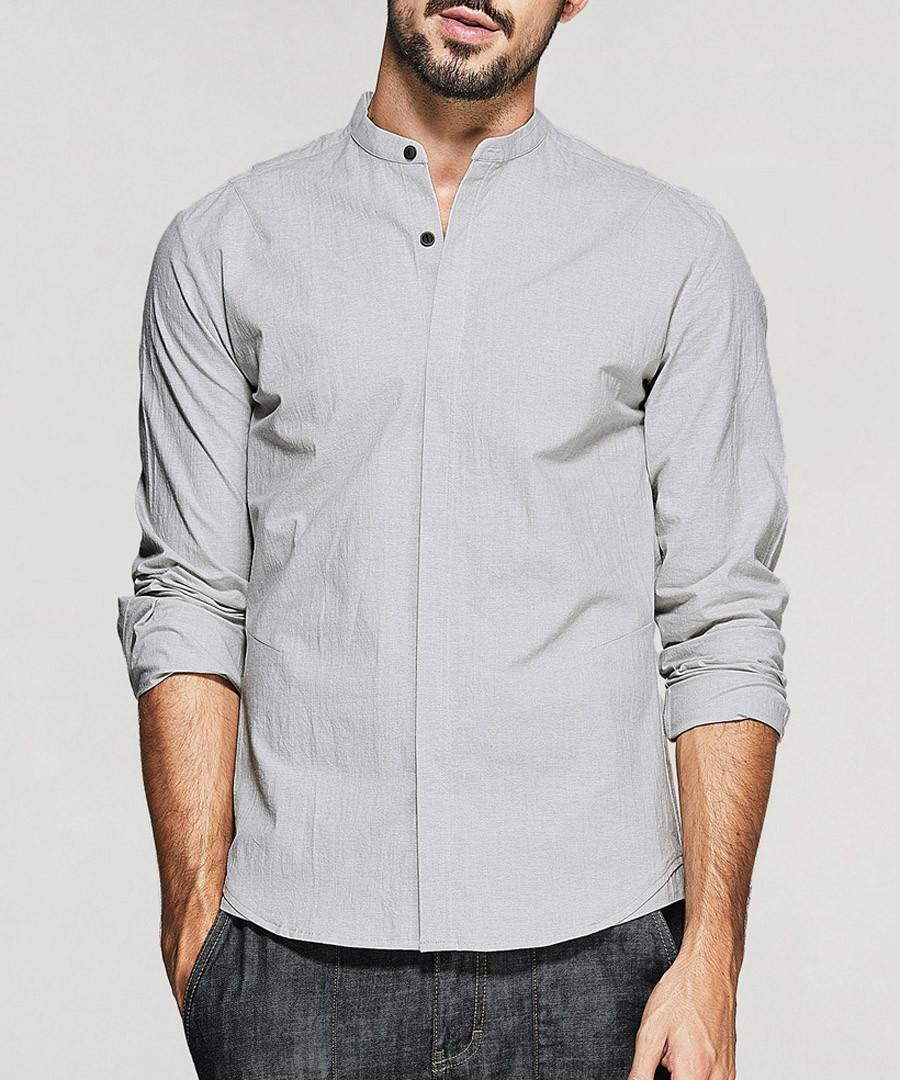 Grey cotton blend bar collar shirt Sale - kuegou