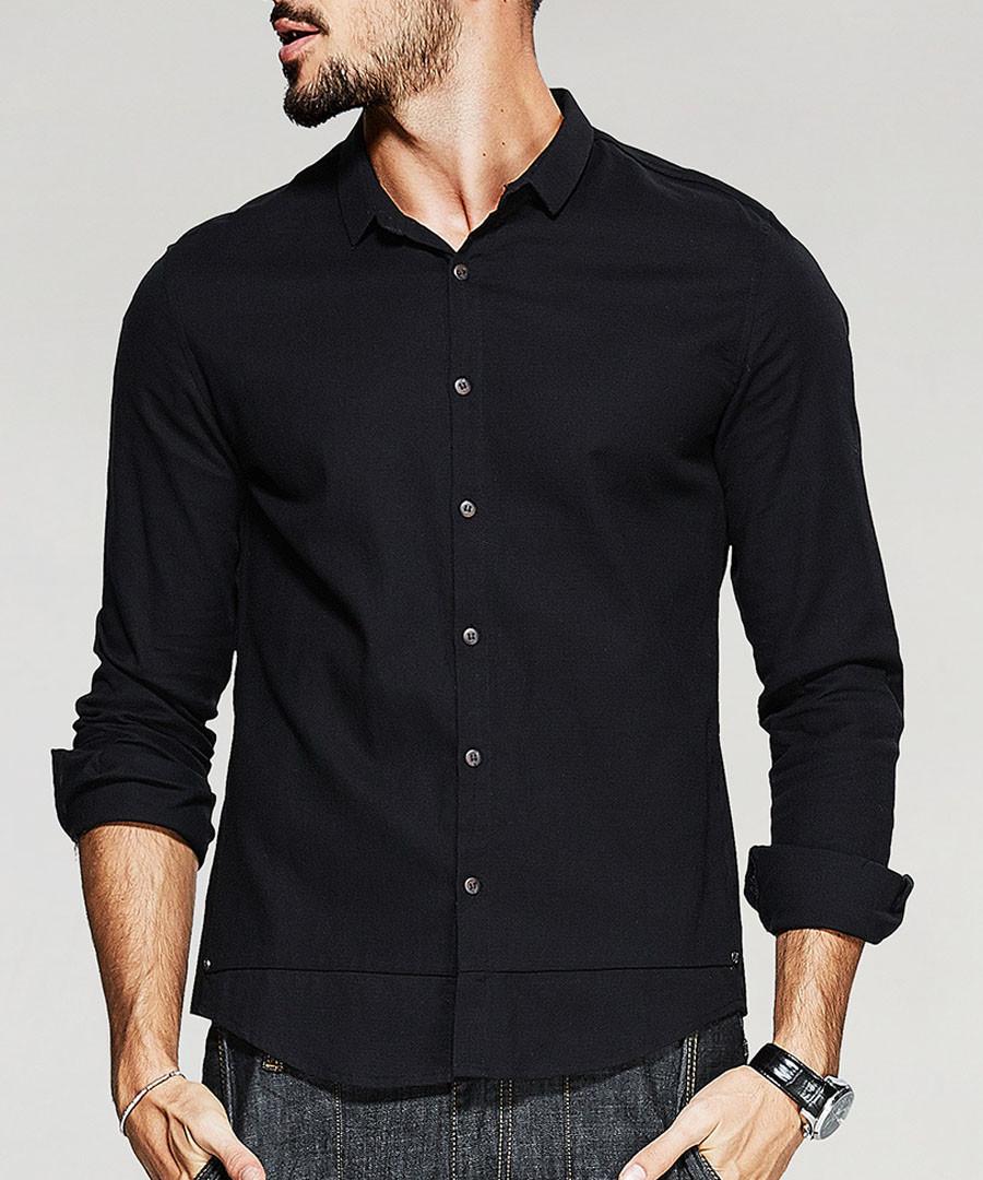 Black cotton button shirt Sale - kuegou