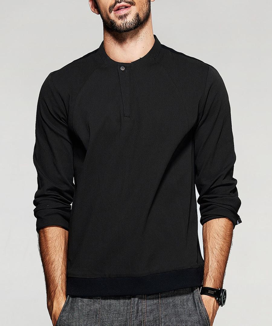 Black cotton button collar shirt Sale - kuegou