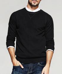 Black cotton blend crew neck jumper