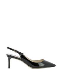Erin 60 black leather slingback heels