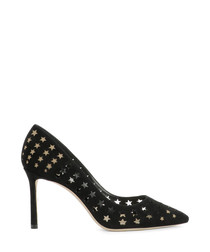 Black suede star punched heels