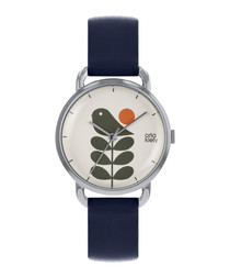 Navy leather olive branch watch