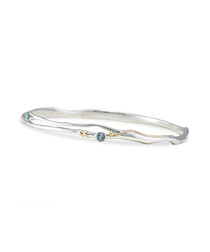 Sterling silver & opalite fluid bangle