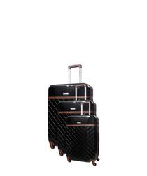 3pc Trendy black spinner suitcase nest