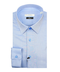 Sky blue pure cotton textured shirt