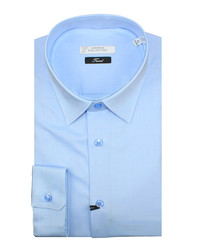 Powder blue pure cotton textured shirt