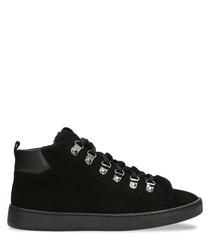 Black leather & fur high-top sneakers
